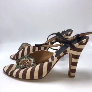 Marni brown beige stripe heel